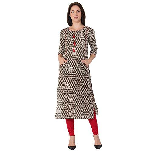 Gulmohar Jaipur Brown Color Cotton Round Neck Straight Women's Kurti