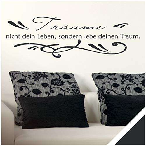 Exklusivpro Wandtattoo Spruch Wand-Worte Träume nicht dein Leben, sondern lebe deinen Traum. mit SWAROVSKI (zit01 schwarz) 120 x 37 cm mit Farb- u. Größenauswahl