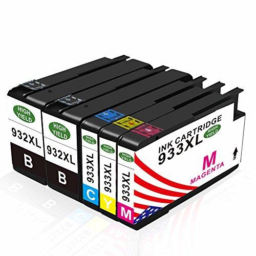 Toner Kingdom Compatible Cartuchos de tinta HP 932XL 933XL Cartuchos de tinta para uso en HP Officejet 7612 6100 6600 6700 7110 7610 Printer (2 Black, 1 Cyan, 1 Magenta, 1 Yellow)