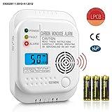 Detector de Monóxido de Carbono EN50291 Sensor de Alarma de CO con Batería de Vida de 7 Años,Pantalla LCD Digital(CO)