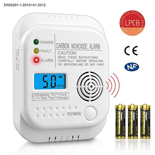 Kohlenmonoxidmelder EN50291 Sensor Feuer CO Alarm mit 7 Jahren Batterie, Digital LCD Display