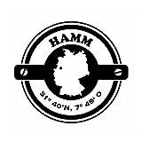 Wadeco Koordinaten rund Hamm Wandtattoo Wandsticker Wandaufkleber 35 Farben verschiedene Größen, 63cm x 57cm, weiß