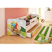 Best For Kids cama infantil con protección anti Caídas con cajón y con 10cm Colchón TÜV certificado Super Selección 3Tamaños Diversos diseños