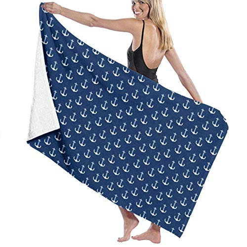 fregrthtg Bath Towel Microfiber, Navy Blue Anchor of Sailor Towel Blanket Bath Towel Personalized 31\