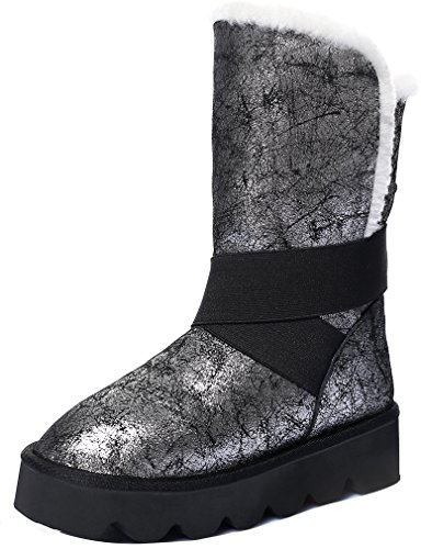 ELEHOT Donna Elechain senza tacco 4CM Leather Stivali, argento,