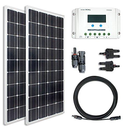 300W Watt Komplettset Solarmodule Mono Monokristallin OffGrid Bausatz 20A Laderegler - Kabel & Stecker - Solarpanel - Camping - solarXXL