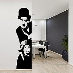 Idea Regalo - Adesiviamo 971-L Adesivo murale Charlie Chaplin: Il Monello Wall Sticker Vinyl Decal adesivo prespaziato in vinile design arredamento per decorazione pareti e muri sinistra
