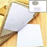 ATPWONZ 12 Paar Klettverschluss,selbstklebend Anti-Rutsch-Aufkleber für Teppiche,Klettverschlüsse weiß Maßen: 10 x 10 cm