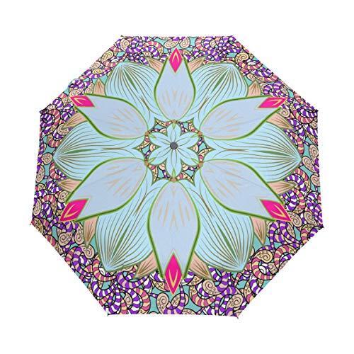 DEZIRO Abstract Hippie Mandala Tres Pliegues al Aire Libre?Paraguas?Auto Abierto Impermeable