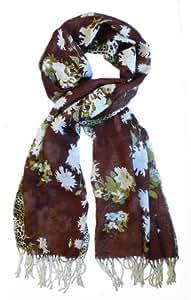 Echarpe en 100% laine, 200cmX70cm. Couleur marron chocolat, kaki, ivoire.