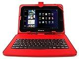 DURAGADGET Etui rouge + clavier intégré AZERTY (français) pour EssentielB Smart'TAB 1003 et 1004, Dark Tab et LISTO Web'PAD 1001 tablettes Boulanger+ port de maintien - Garantie 2 ans