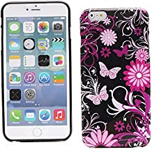 "Kit Me Out ES Funda de Gel TPU para Apple iPhone 6 Plus 5.5"" pulgadas - Negro Jardín rosa"