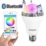 Lampadina con Altoparlante Morpilot® Lampada led Bluetooth 4.0, Bulb Smart Colore Colorato 5W E27 App Telecomando Infrared per Controllo con Modalità Arcobaleno / Pulse / Flash / Candela , Cambiare i Colori con Musica,Funziona con IPhone,IPad, Android Phone e Tablet immagine