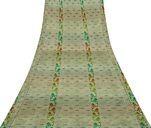 Svasti belwari Jamdani Vintage Sari Refurbished Meeresgrun 100% reine Seide gedruckt Craft Stoff 5 Yard -
