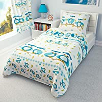 Nursery Bedding Set Duvet Cover + Pillowcase to fit Cot/Cot Bed/Toddler Bed Girls Boys Blue Owls 100% Cotton (120x150 cm)