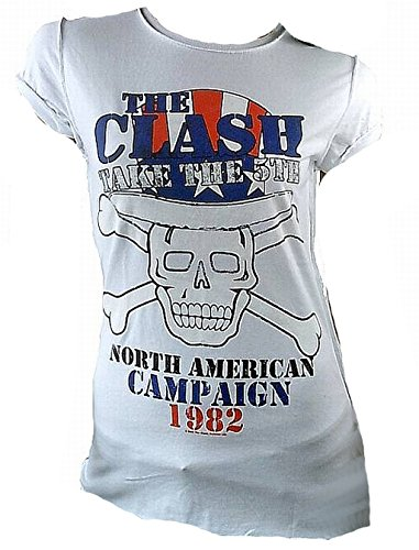 Amplified Damen T-Shirt Weiss Official The Clash Skull USA Tour 1982 Vintage L 42 (Tour 1982 T-shirt)