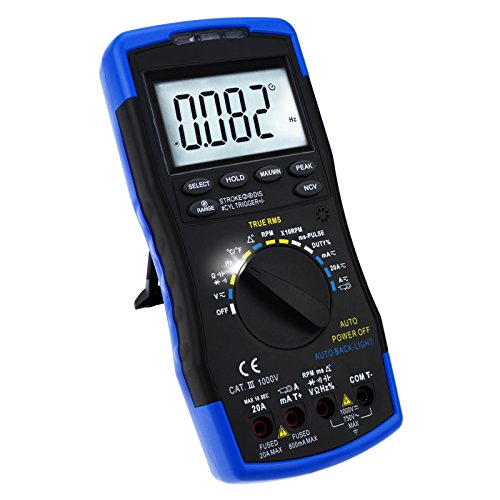 Auto-Ranging LCD Digital Multimeter Motor Analyzer Messgerät Tester - DC AC-Spannung, u/min Drehzahlmesser, Schließwinkel, Strom (True RMS), Widerstand, K-Typ Thermoelement Temperatur Diode Durchgangsprüfung