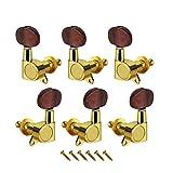 Fleor Electric Guitar string Tuning pioli chiavi, in metallo con plastica Machine Head per chitarra elettrica/acustica notebook 3L3R Golden with Red Pearl Button