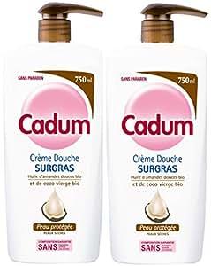 Cadum - Crème Douche Surgras à l'Huile d'Amandes Douces Bio et De Coco Bio Vierge - 750 ml - Lot de 2
