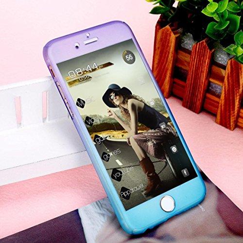 Coque iPhone 7, iPhone 8Coque, Yoota fin coloré Coque [protection d'écran en verre trempé] [] PC rigide Translucide anti-rayures Coque de protection intégrale 360 violet/bleu