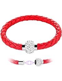 Taffstyle® Schmuck PU Leder Armband mit Swarovski Kristall Elements und Magnetverschluss