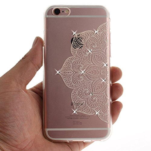iPhone 6S 4,7Zoll Hülle,iPhone 6 Silikon Schutzhülle,TOYYM Ultra Dünn Transparent Weich Flexibel TPU Bumper Gel Glizter Diamant Silikonhülle Backcover,Retro Muster Design Clear Crystal Durchsichtig Ha Weiße Blume