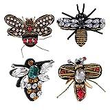 Baoblaze 4 Stück Aufnäher Nähen Patch Aufnäher Bügelbild Aufbügler Applikation Strass Biene Libelle Patches für Kleidung Taschen Deko