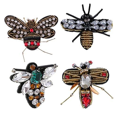 (Baoblaze 4 Stück Aufnäher Nähen Patch Aufnäher Bügelbild Aufbügler Applikation Strass Biene Libelle Patches für Kleidung Taschen Deko)