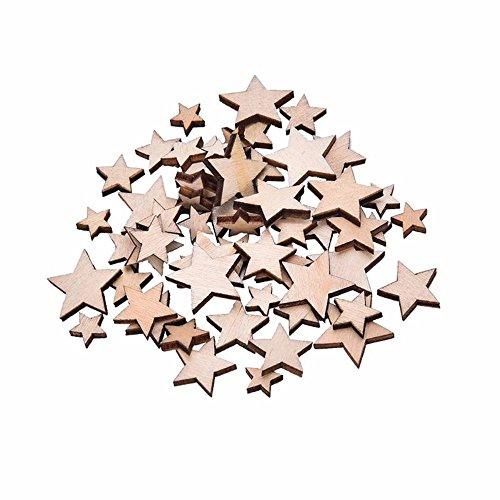 100 Stück Holzsterne Weihnachten Deko Holz Stern Mini Sterne Gemischt 5 Größen