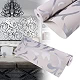 3D Vliestapete Wandtapete Wandteppich Wand Tapete Dekoration (Silber)