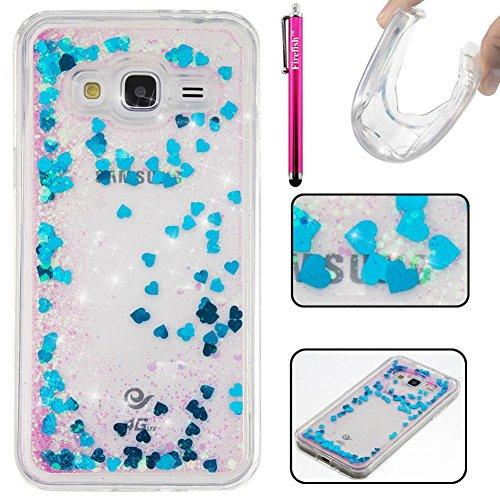 Galaxy J3/J310 Hülle, Firefish Glitter Liquid Cover Slim Weiche TPU Gummi Silikon Fall Impact Resistant Durable Schutzhülle für Samsung Galaxy (Gold Galaxy Handschuhe Metallic)