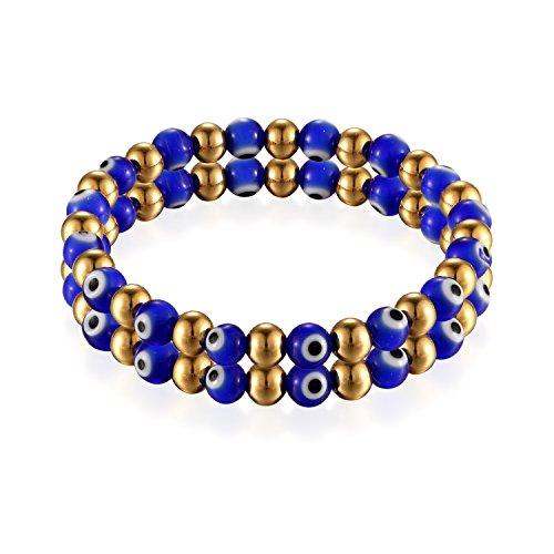Flongo Damen-Armband Perle-Armband Kugelkette, Edelstahl Armband Armreif Perlenarmband Dunkel-Blau Gold Golden Böse Evil Teufel Eye Auge Gebet Kugel Perle Perlen Damen Accessoires