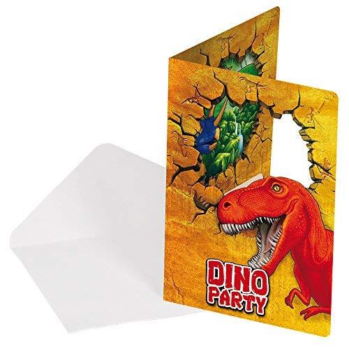 (Folat 12-teiliges Einladungen-Set * Dinosaurier * mit 6 Einladungskarten und)
