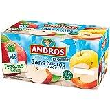 ANDROS Compotes de Pommes en gourdes Sans sucres ajoutés 18x90g - Lot de 2