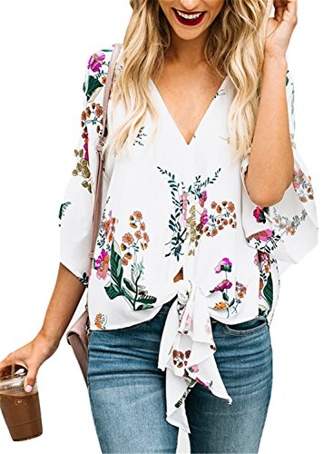FIYOTE Womens Summer V Neck Floral Print Short Sleeve Tie Front Chiffon Tops Blouses