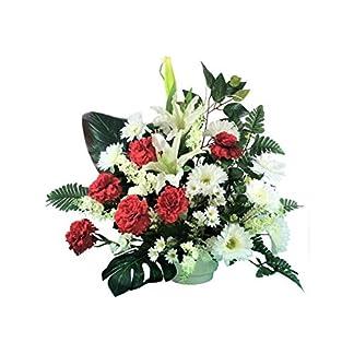 LBA Centro de Flores Artificiales para Cementerio. También para Iglesias. Especial Día de Todos los Santos. Medidas: 70x65x35 cms. Aprox.