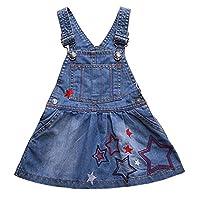 Denim Dungaree Dress Skirt Jeans Suspender Dress Overalls Toddler Infant Jumper Outfit Blue for Little Baby Girls (Height 90-99cm)