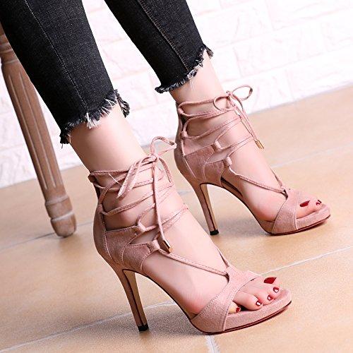 Super Strap scarpe col tacco alto con una bella impermeabili Sandali Taiwan Roma Nightclub femminili Pink
