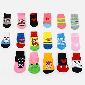 JUNGEN 2Paires Pet Socks de Chaussettes en Coton Antiderapants pour Animaux de Compagnie,Chat, Chien Couleur Aléatoire