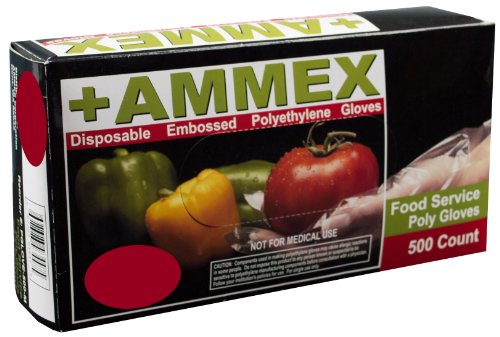 Ammex PGLOVE-500 Food Service Poly Glove, Latex Free, Disposable, Powder Free, Small (Box of 500) by Ammex
