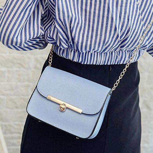 Longra Sacchetto diagonale del sacchetto di spalla del sacchetto della catena di modo delle donne Blu