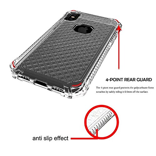 iPhone X Case, Armor Rugged Shockproof Protective Case with Air Bag Anti Drop Design, Soundmae Square Taxture Durable TPU Back Cover with Anti-Slip Edge for iPhone X [Black, Square] Square-Transparent