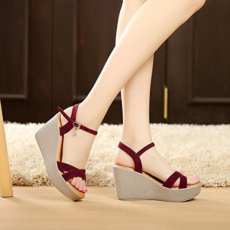 gtvernh summer épais talon bas muffin sandales tableau à talons des talus  7cm femmes tableau sandales 4a20fc06b003