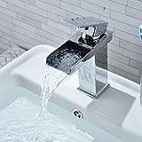 LESHP Waterfall Bathroom Basin Mixer Tap Chrome Monobloc Sink Taps