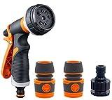 BNSPLY Pistola de pulverización para manguera de jardín, 8 modos de pulverización, control de flujo, pomo multifuncional, alta presión para lavado de coche, riego de plantas
