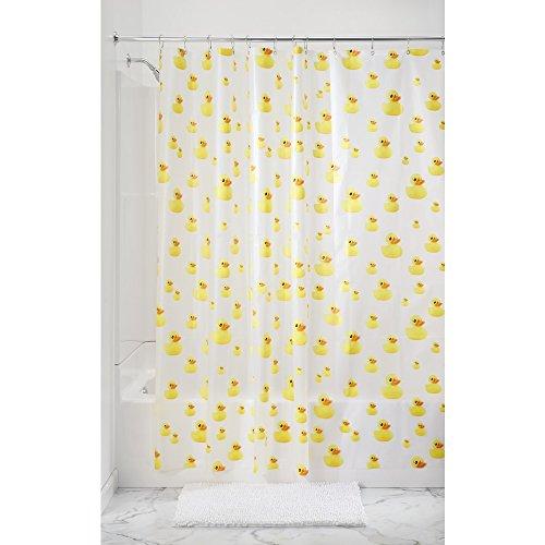 InterDesign Novelty EVA/PEVA Duschvorhang aus PEVA, wasserdichter Vorhang für Badewanne und Dusche in 183,0 cm x 183,0 cm, gelb/orange
