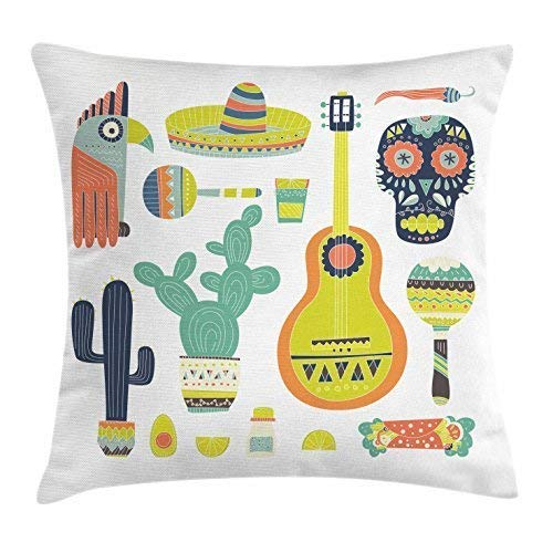 WBinHua Masken, Masken für Erwachsene, Symbols from Mexico Guitar Face Aztec Mask Tequila Skull Musical Instruments Taco Decorative Square Pillow Case 18 X 18 Inches Multicolor