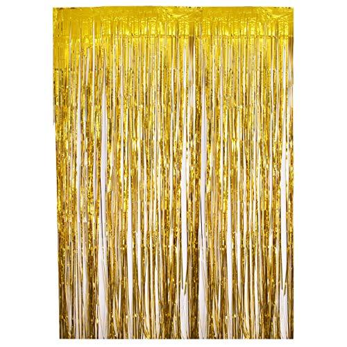 (Metallic Lametta Vorhänge Folien Fransen Schimmer Vorhang Tür Fenster Dekoration für Geburtstag Hochzeit Party Gold)