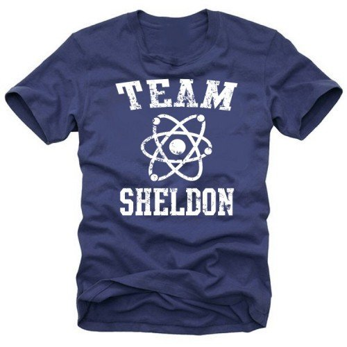 Coole-Fun-T-Shirts T-Shirt Team Sheldon - Big Bang Theory !  Vintage, navy_gelb, S, N10748_Navy_gelb_GR.S (Shirts Coole Vintage)