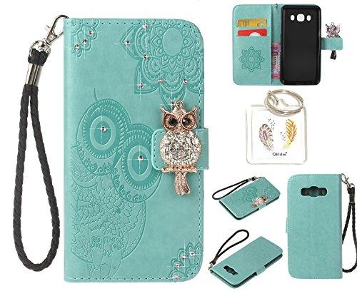 Preisvergleich Produktbild für Samsung Galaxy J5(2016)/J510 PU Diamant Strass Niedlich Eule Leder Silikon Schutzhülle Handy case Book Style Portemonnaie Design für Samsung Galaxy J5(2016)/J510 + Schlüsselanhänger ( ZAQ1 (6)